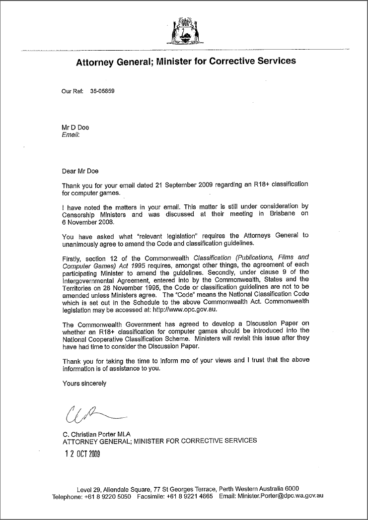 WA Attorney-General response letter